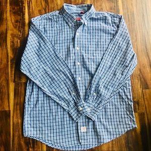 Izod Blue Plaid Checked Oxford Shirt -Large